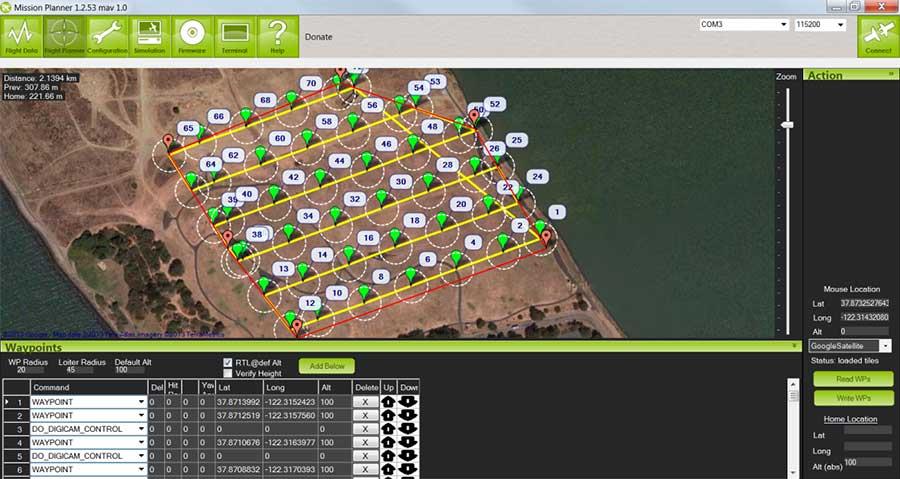 Logiciel Mission Planner formation drone