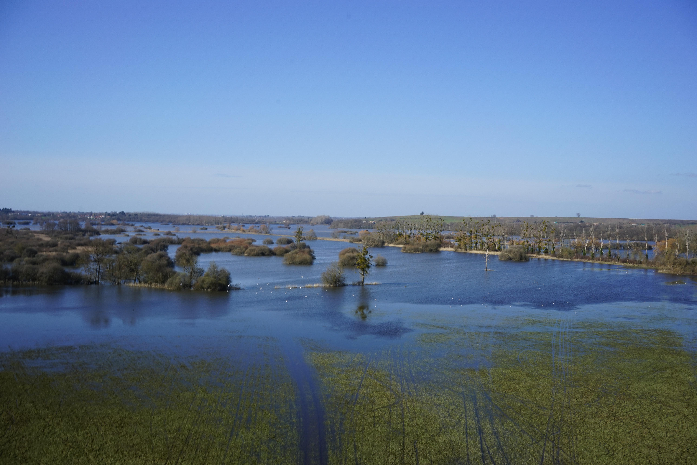 survol en drone inondation sud loire